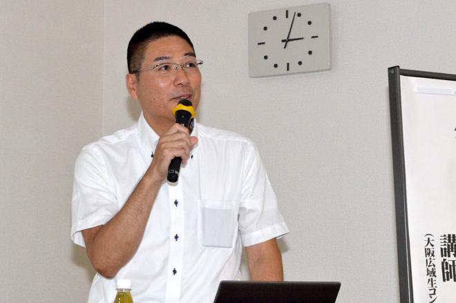 大阪広域生コンクリート協同組合・技術部長の栗延正成氏は、『生コンクリートの基礎知識』を講演